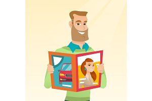 Man reading a magazine vector illustration.