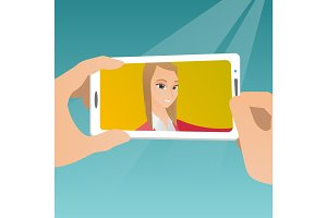 Young woman making selfie vector illustration.