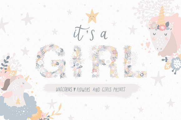 It's A Girl Unicorns And Flowers