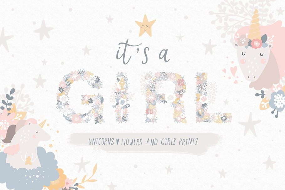 24bb0485 It's a Girl Unicorns and flowers ~ Illustrations ~ Creative Market