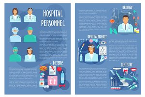 Vector poster of medical hospital personnel