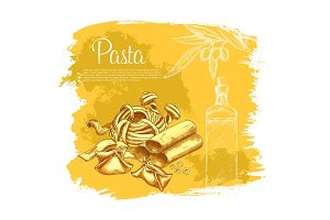 Vector poster of pasta for Italian cuisine