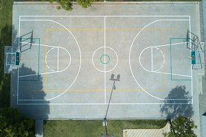 Basketball field aerial view