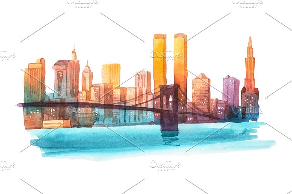 Manhattan Bridge New York Cityscape Watercolor Illustration