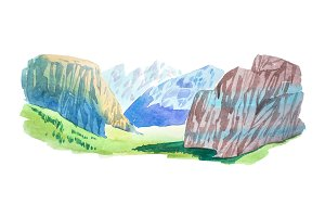 Natural summer beautiful mountain landscape watercolor illustration.