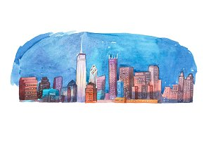 Watercolor drawing cityscape night city aquarelle painting.