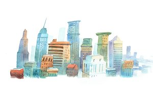 Colored aquarelle sketch of high buildings in New York, the USA. Cityscape  big modern city