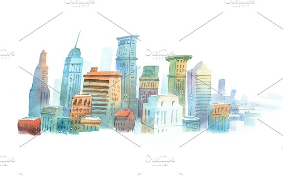 Colored Aquarelle Sketch Of High Buildings In New York The USA Cityscape Big Modern