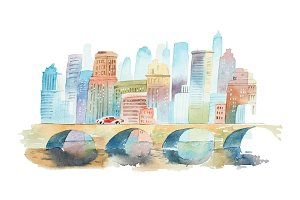 Hand drawn watercolor cityscape with a stone bridge in foreground and high buildings in background