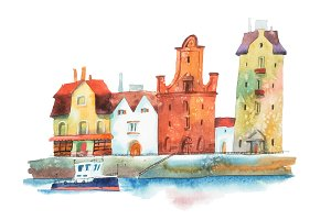 European city with row of old traditional houses and a boat on water painted  watercolors  white background