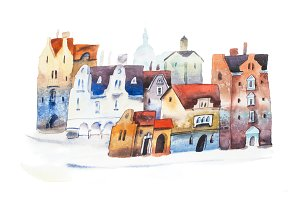 Hand drawn postcard of old city street in Europe. Watercolor cityscape