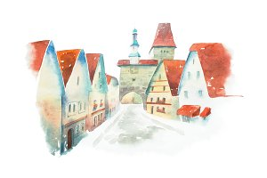 Famous street of old historic Bavarian town Rothenburg ob der Tauber painted with watercolors on white background