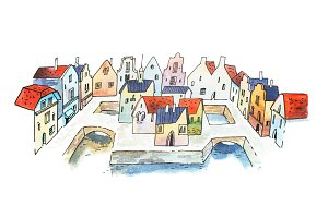 Aquarelle sketch of canal city street in France, Europe