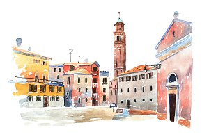 Colored watercolor sketch of old town in Europe drawn on white paper. View  Santa Maria dei Frari steeple in Venice, Italy