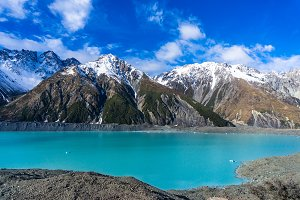 Glacier lake with turquoise blue water and mountains landscape