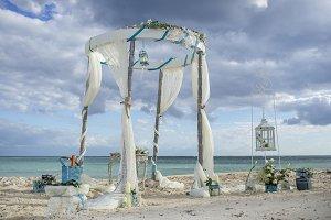vintage wedding ceremony setup