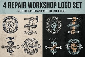 4 Repair workshop logo set