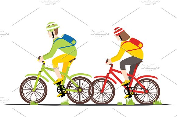 Bicycle Rider Couple In Flat Style