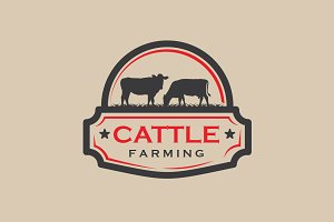Vintage Cattle Farming Logo Badge