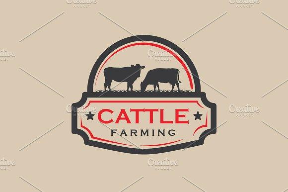 Vintage Cattle Farming Logo Badge
