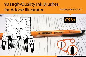 90 Pro Illustrator Ink Brushes