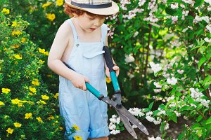 little boy watering the garden with hose