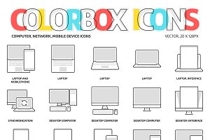Colorbox icons, Computer, network