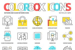 Colorbox icons, network and cloud