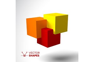 3D logo with bright colored cubes