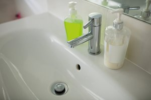 Empty bathroom with hand wash basin