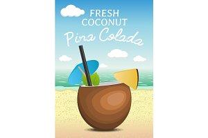 Coconut fresh cocktail pina colada