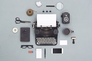top view retro typewriter items
