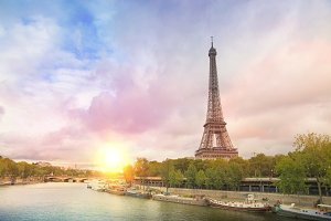 Eiffel tower sunset.