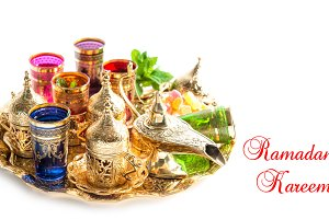 Golden tea service Ramadan decor