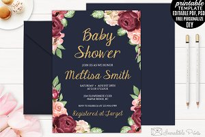 Navy and Marsala Baby Shower Invite