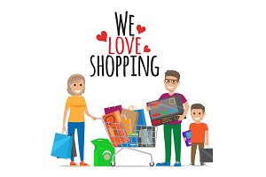 We Love Shopping. Family Shopping Illustration