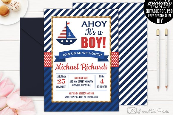 Nautical baby shower invitation invitation templates creative market nautical baby shower invitation invitations filmwisefo