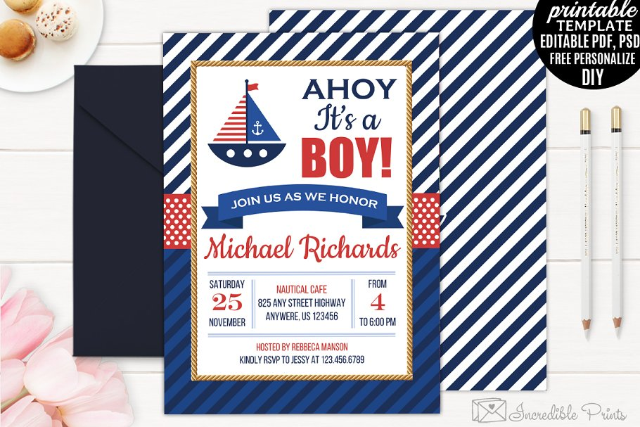 ecdb30769 Nautical Baby Shower Invitation ~ Invitation Templates ~ Creative Market