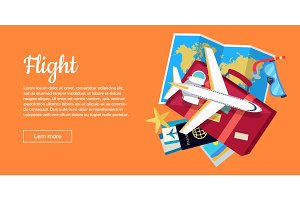 Flight Conceptual Flat Style Vector Web Banner