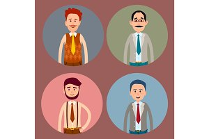 Men Character Four Colorful Icons Collection.