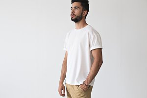 Young man in white tshirt on mockup