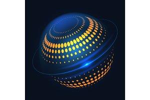 Blue halftone curcular 3d shape design