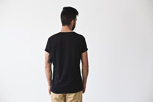 Bearded hipster in black tshirt