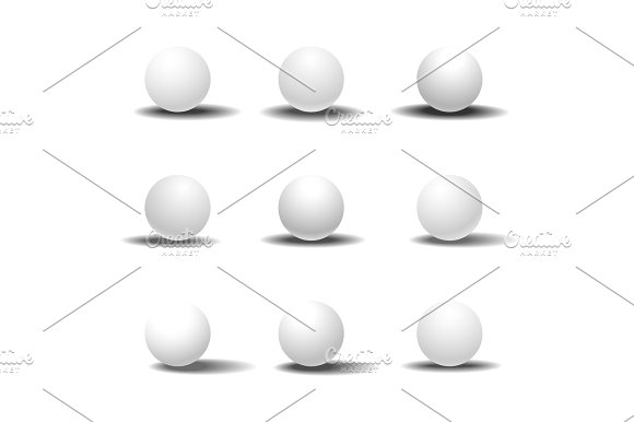 White 3D sphere set with shadows