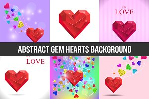 Abstract Gem Hearts Backgrounds