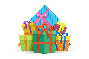 Presents or gifts boxes illustration