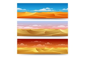 Sand dunes banners set