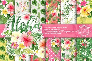 Aloha tropical digital paper pack