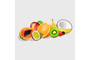 Sliced Exotic Fruits Vector Illustrations Set