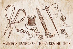 Vintage handicraft tools graphic set